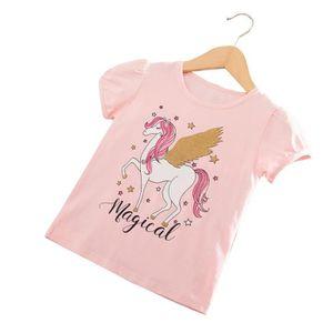 T-SHIRT Filles Licorne T-shirt en Coton à Manches Courtes