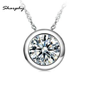 PENDENTIF VENDU SEUL SHARPHY® Pendentif Femme 925 Argent Diamant  Ronde