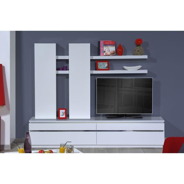 buzz meuble tv mural 220 cm blanc achat vente meuble tv buzz meuble tv mural panneaux de. Black Bedroom Furniture Sets. Home Design Ideas