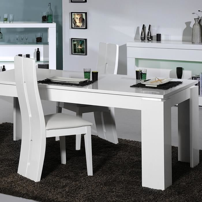 floyd table manger extensible 6 8 personnes 180 220x90 cm 4 chaises laqu blanc brillant. Black Bedroom Furniture Sets. Home Design Ideas