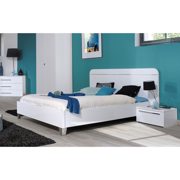first chambre compl te adulte 140 cm laqu e blanc achat vente chambre compl te first chambre. Black Bedroom Furniture Sets. Home Design Ideas