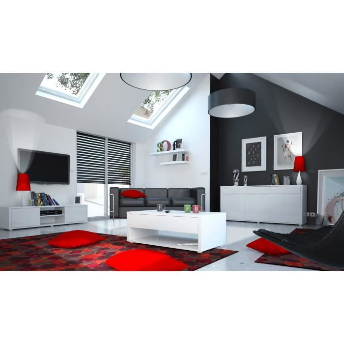 urbana ensemble meubles s jour contemporain laqu blanc brillant achat vente salle. Black Bedroom Furniture Sets. Home Design Ideas