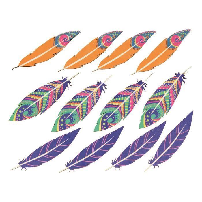Stickers bois Plumes déco 12 pièces - Artémio Multicolore - Assort.