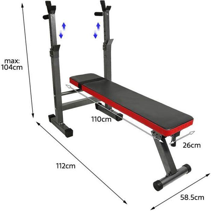 Banc de Musculation pour Abdominaux - Pliable/Réglable - 110 cm x 58 cm - Noir et Rouge - SHENGLIMEII