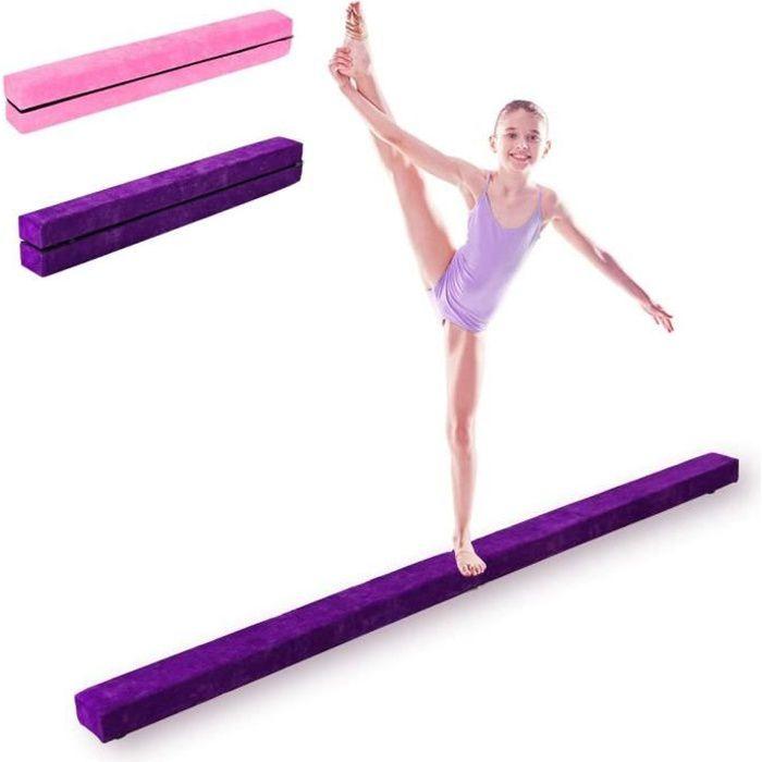 DREAMADE Poutre de Gymnastique d'Equilibre Piable Entraînement de Gymnastique à Domicile Idéale pour Enfants et Adultes Rosé/Violet