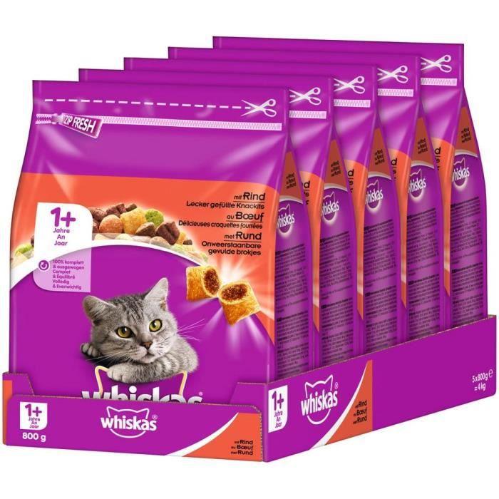 whiskas Chat Adult Croquettes Nourriture pour Chat à partir de 1 Ans avec Bovine (5 x 800 g) 447819
