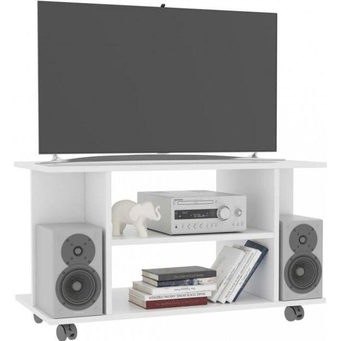 Meubles TV Meuble TV avec roulettes Blanc 80 x 40 x 40 cm Agglomere