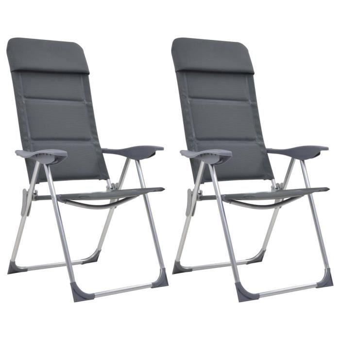 BEST*6239Moderne Magnifique Lot de 2 Chaises de camping - Chaise De Jardin Fauteuil Relax de Jardin Gris 58x69x111 cm Aluminium