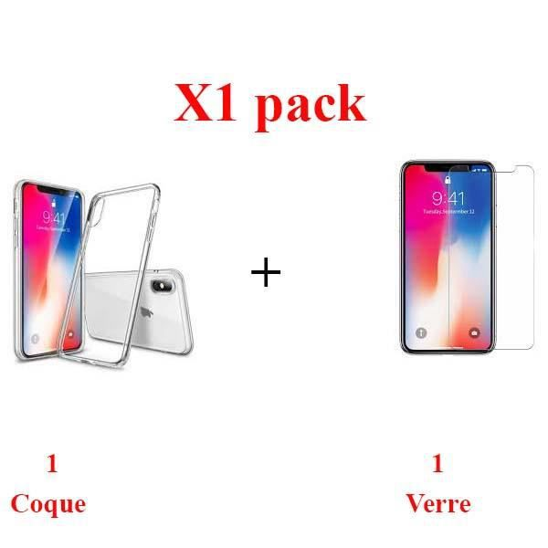X1 pack pack film protection + coque IPHONE XR haute resistance
