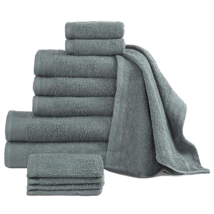 Luxueux -Lot de 12 Serviette Coton Serviettes de toilette - Serviettes De Bain 450 g-m² Vert