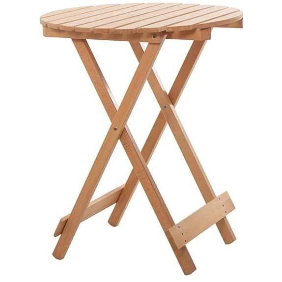 TABLE DE JARDIN Table Ronde en Bois Massif Portable Table d'appoint Pliante ext-eacute,rieure Facile Nettoyable Nettoyable Tabl894