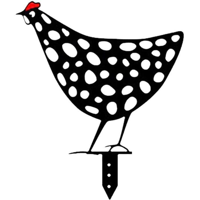 Poule Réaliste, Art de Cour de Poulet, Animaux Art Yard Decor,Coq Métal Animal Silhouette Pieu Cour, Ornements de Pelouse Extérieure