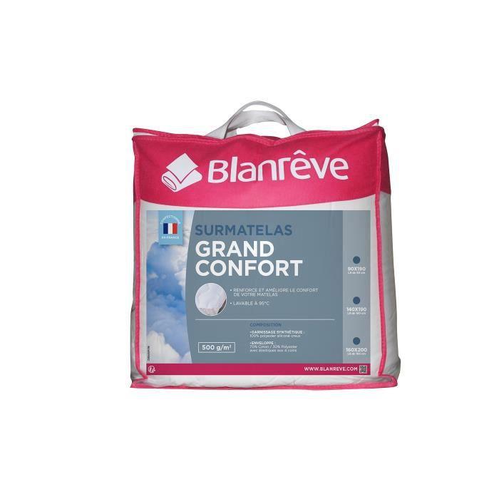blanrêve PLGRAHP021419 Sur Matelas Grand Confort 140 x 190,Blanc