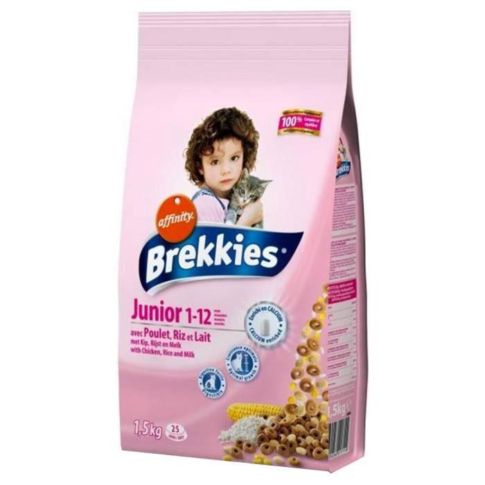 Brekkies Junior Chats 1-12 mois Croquettes au Poulet Riz et Lait 1,5Kg (lot de 3)