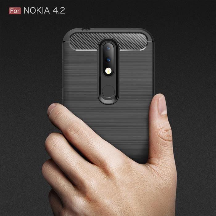 Nokia 4.2 Carbone Noir Coque Housse Etui En Silicone Gel Souple hfs-house®