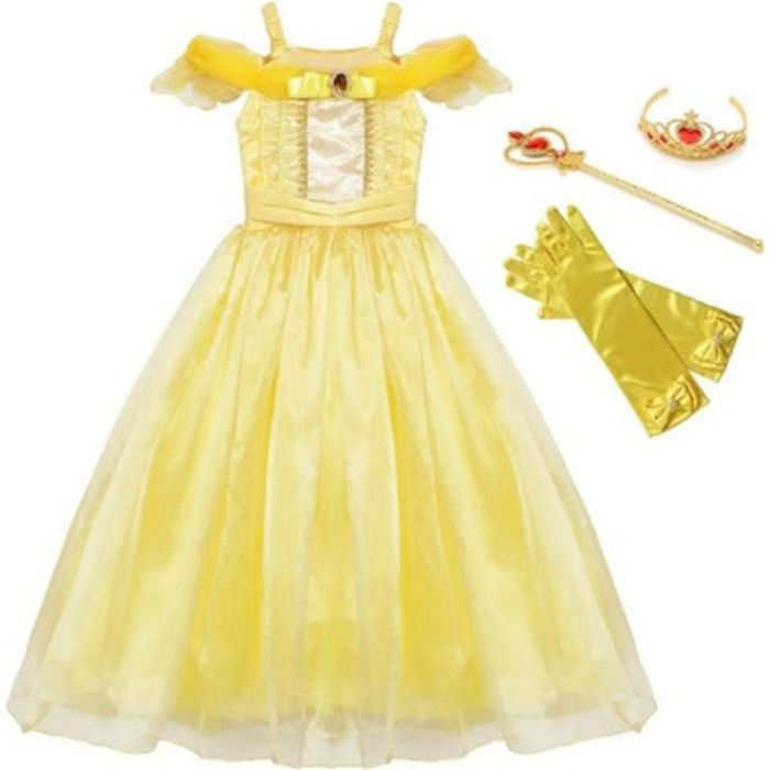 Filles d'été Belle Froufrous Robe Deguisement La belle et la Bête Princesse Costume fête Cosplay Fantaisie Vêtements