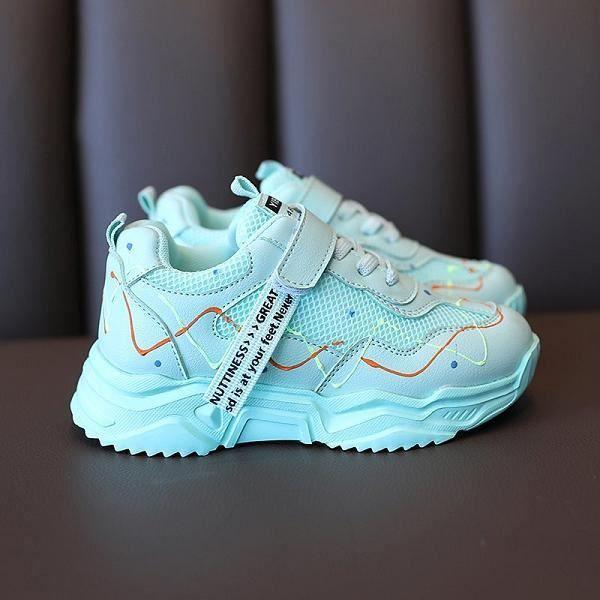 Chaussures enfants lumineuses,Enfants chaussures colorées filles baskets gar?ons chaussure lumineuse enfants Pu maille course forma