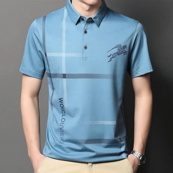 Mode chemise Polo Homme Manche Courte Casual Manche courte Lapel Basic T-Shirt Slim sports Tennis Poloshirt Tops bleu