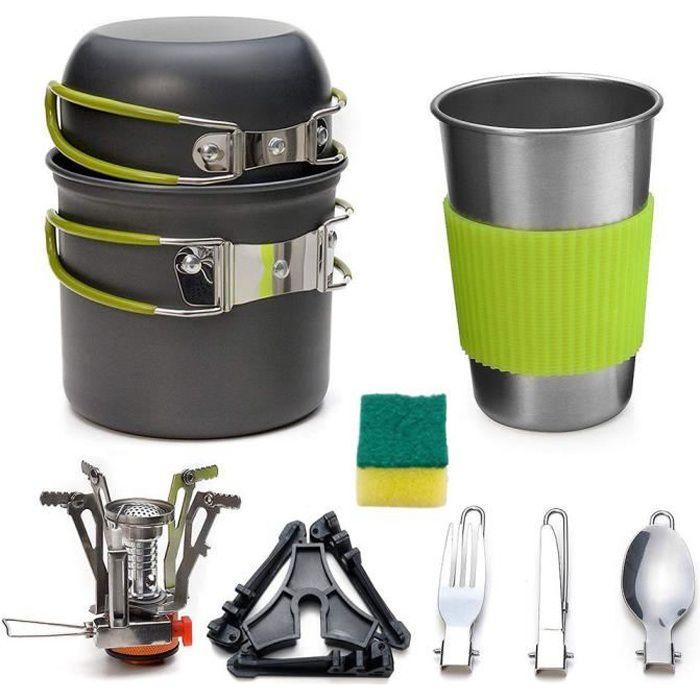 Batterie de cuisine Camping Ensembles de cuisine Kit Cuisinière Ustensile Outil Four Pan Pot Vaisselle 10PCS
