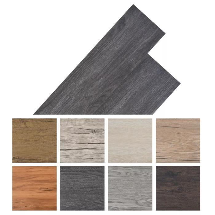 Planche de plancher PVC 5,26 m² Noir et blanc