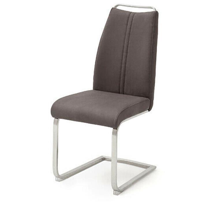 Lot de 2 chaises de salle à manger en acier et imitation cuir nubuck marron - L.44 x H.102 x P.61 cm