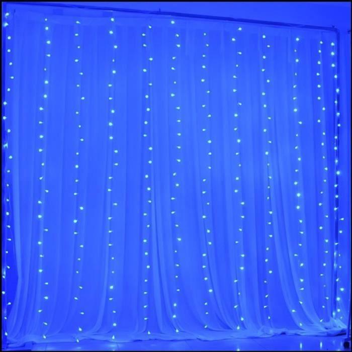 3m * 3m LED rideau lumineux Guirlande lumineuse LED cascade glace bande lumière mise en page de fond décoration de mariage Bleu
