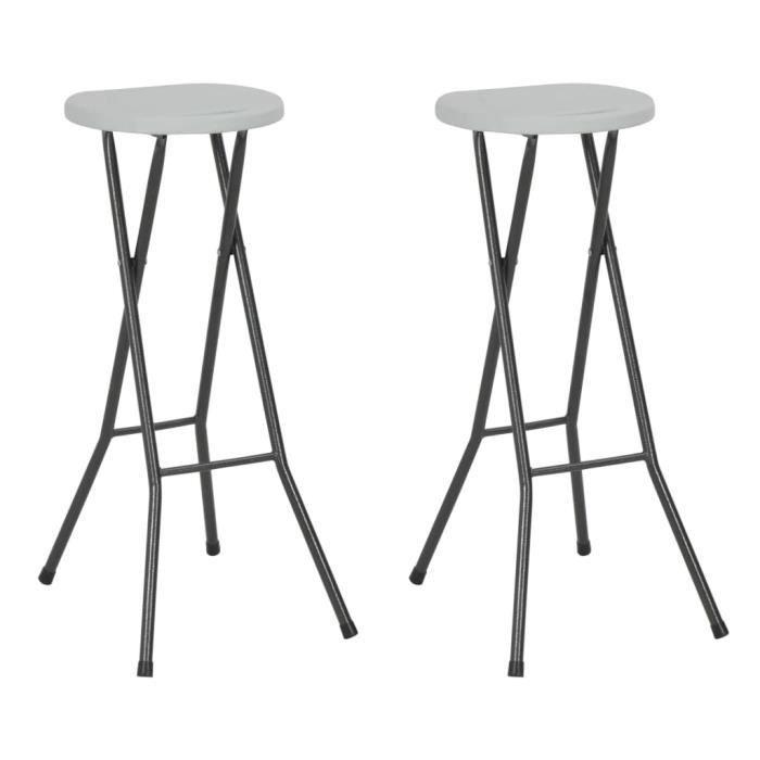 Chaise de bar pliante 2 pcs HDPE 35 x 44 x 80 cm Blanc - Sièges d'extérieur - Chaises d'extérieur - Blanc - Blanc