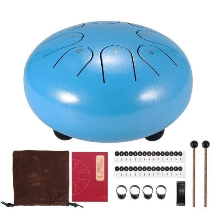 VV31163-Tambour De Langue En Acier De 6 Pouces 8 Tune Réservoir De Tambour À Main Pan Hang Drum - Bleu clair