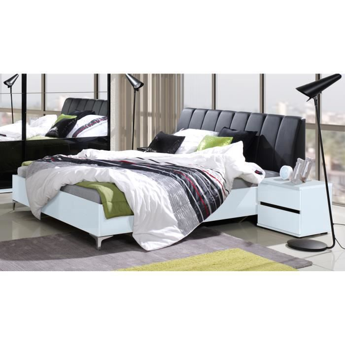 ensemble lit adulte 160x200 cm t te de lit chevets sommier saragossa noir et blanc. Black Bedroom Furniture Sets. Home Design Ideas