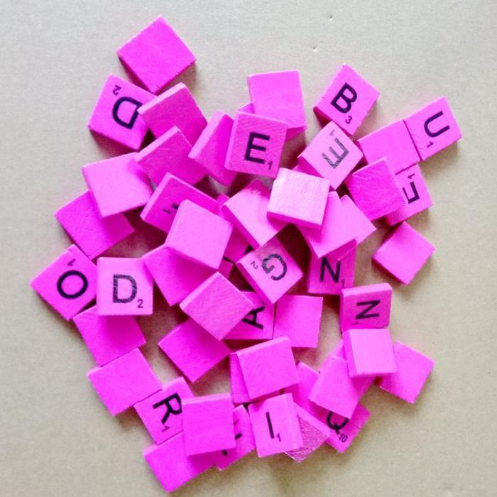 JETON DE JEU 100pcs lettres de l'alphabet en bois Rose
