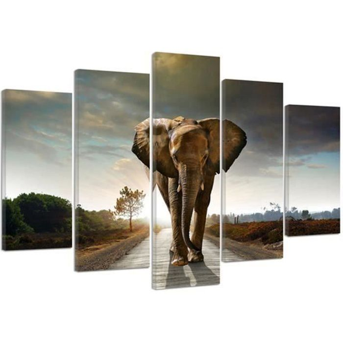 tableau d co multi panneaux 100x150 elephant en 5 parties. Black Bedroom Furniture Sets. Home Design Ideas