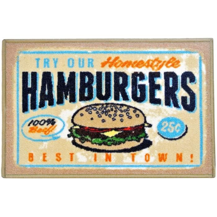 tapis de cuisine d co vintage fast food restaurant hamburger 40 x 60cm achat vente tapis de. Black Bedroom Furniture Sets. Home Design Ideas