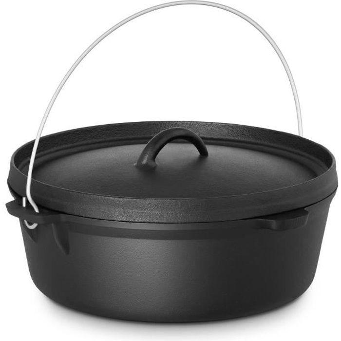 En Fonte Casserole Avec Couvercle /& ANSE NOIR Marmite induction cuisine pot
