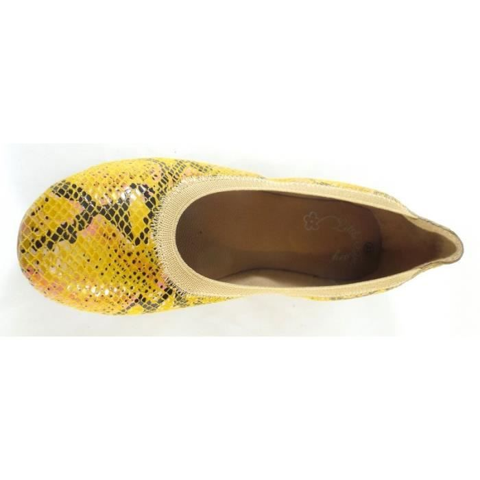 Little Mary Ballerines Jaune Serpent (35 - Fin - beige)