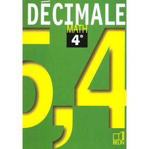 Mathematiques 4e Decimale Achat Vente Livre Belin
