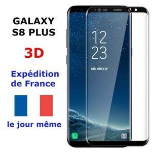 PIÈCE TÉLÉPHONE VERRE Trempé Samsung GALAXY S8 PLUS NOIR Vitre Pro