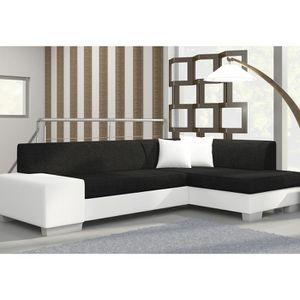 CANAPÉ - SOFA - DIVAN Canapé d'angle convertible noir et blanc LUIZ 6 A