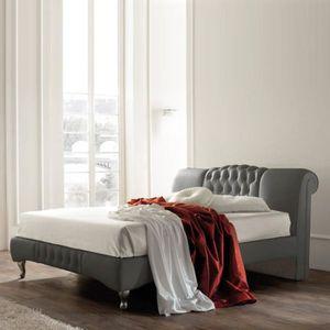 STRUCTURE DE LIT Lit design Sandra - Gris - 140x190