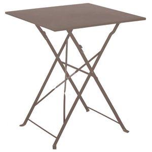 TABLE À MANGER SEULE Table de jardin pliante en acier coloris Crema - D
