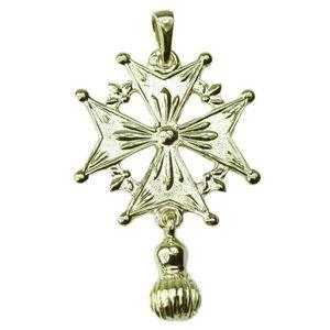 PENDENTIF VENDU SEUL Croix Huguenote du Dauphiné Réversible Argent