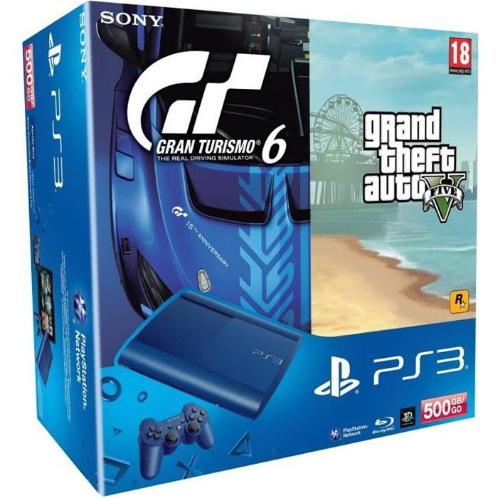 pack ps3 bleue 500 go jeu gt6 jeu gta v achat vente console ps3 pack ps3 bleue 500go gt6. Black Bedroom Furniture Sets. Home Design Ideas