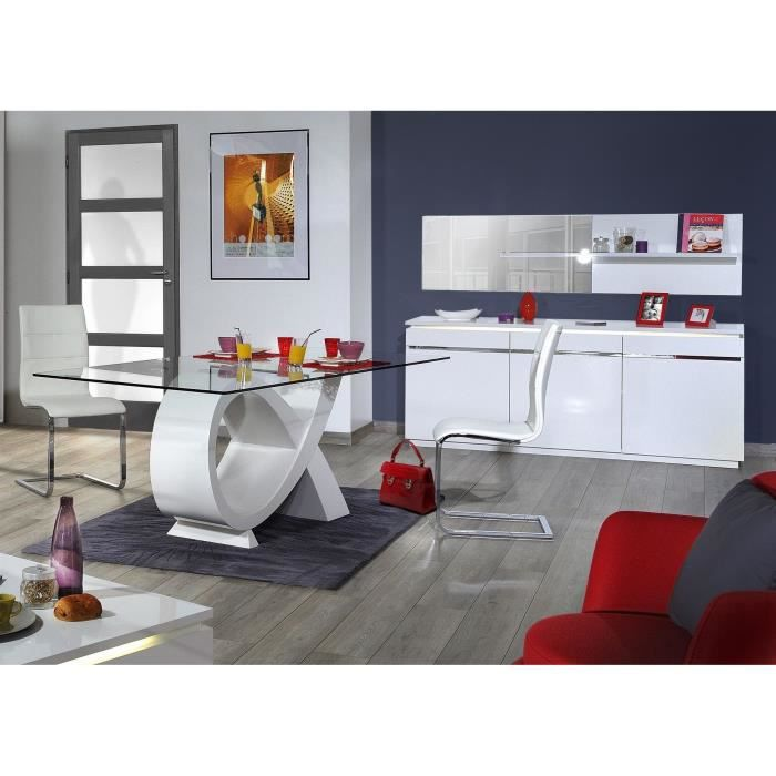 buzz salle manger 6 pi ces laqu blanc achat vente. Black Bedroom Furniture Sets. Home Design Ideas