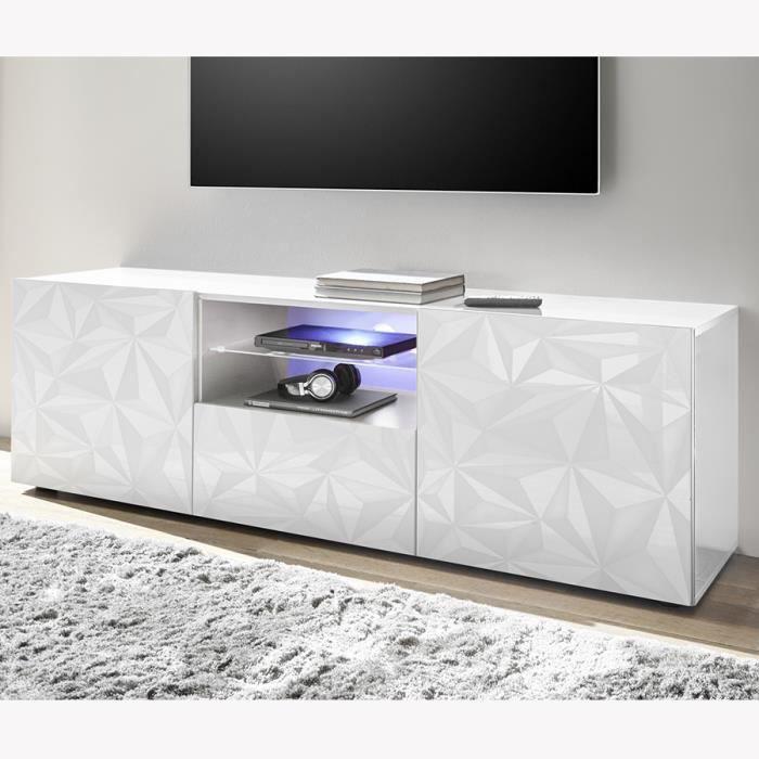Grand meuble TV laqué design blanc avec sérigraphies PAOLO sans éclairage Blanc L 181 x P 42 x H 79 cm