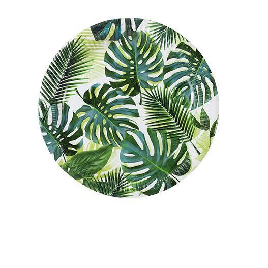 Assiette Carton Tropical Vert x8