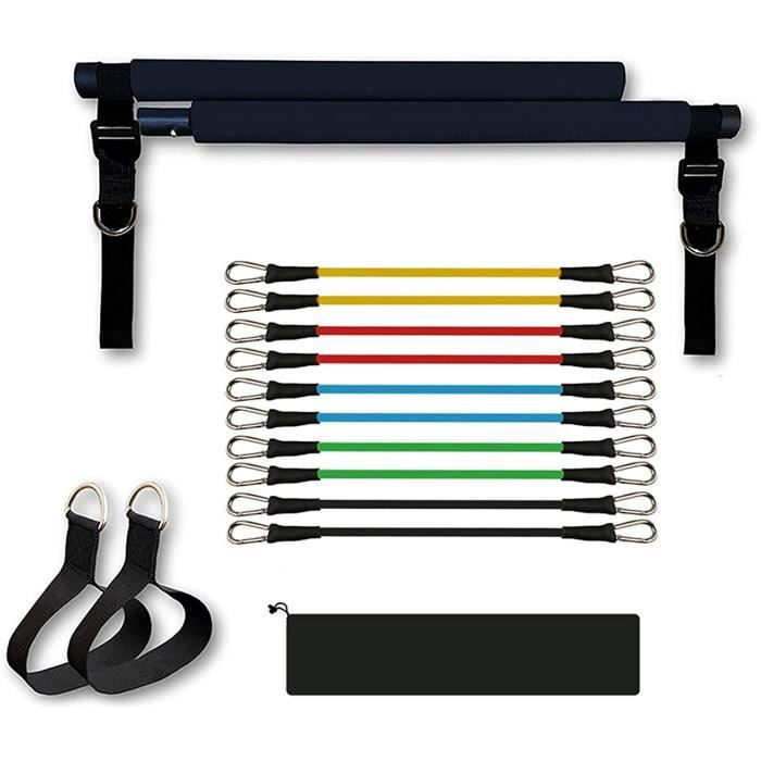 ELASTIQUE DE RESISTANCE Barre de Pilates Portable avec Bande de r&eacutesistance Yoga Pilates Barre d'exercice avec Boucle de 142