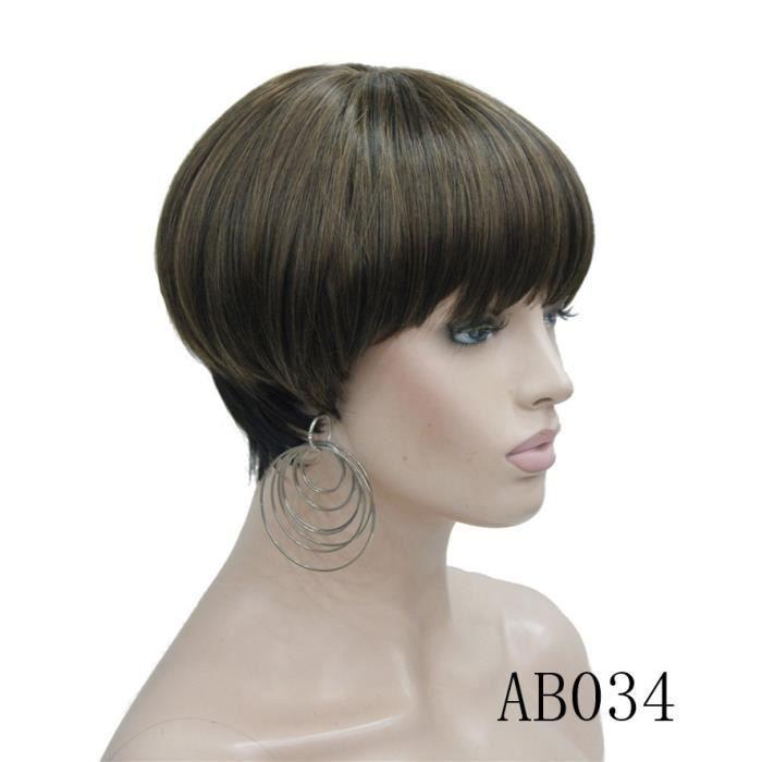 AB0346 pouces -Strong beauty perruque Bob Hair, cheveux courts et lisses, noir et violet, perruque pour femmes, tête de champignon