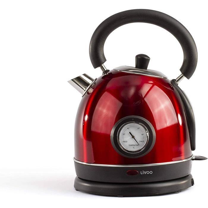LIVOO DOD157 Bouilloire Rétro Vintage Rouge avec themomètre intégré - Capacité 1.8L, Arrêt Automatique, Filtre...