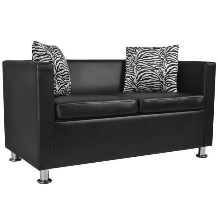 Canapé d'angle droit 2 places + 2 oreillers - Cuir synthétique noir - 120 x 62,5 x 63 cm
