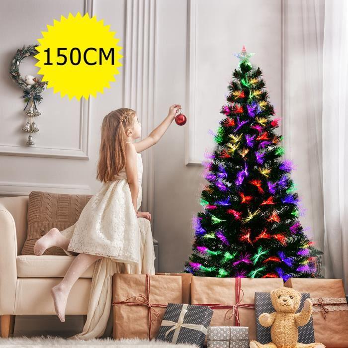 COSTWAY Sapin de Noël Artificiel Lumineux de 150 cm avec Fibre Optique, Ampoules LED décoration de Noël d'intérieur Multicolore