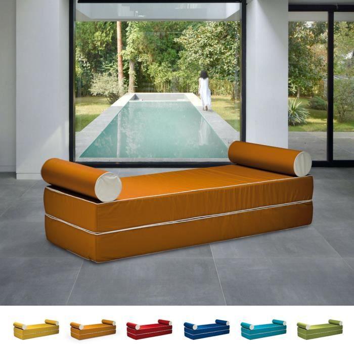 Canapé-lit double modulable au design confortable avec coussins Free Bed, Couleur: Orange